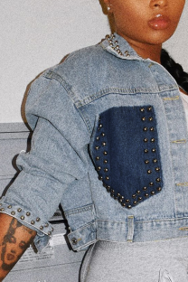 Blue Fashion Casual Rivets Buckle Turndown Collar Outerwear