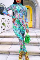 colour Fashion Split Joint Turtleneck Skinny Jumpsuits