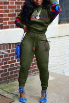 Army Green Sportswear Print Split Joint O Neck Long Sleeve Two Pieces