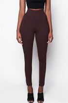 Dark Brown Sportswear Solid Regular Bottoms
