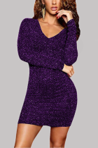Purple Sexy Solid Hollowed Out V Neck Wrapped Skirt Dresses