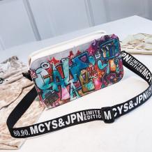 Rice White Fashion Casual Graffiti Print Crossbody Bag