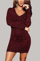 Wine Red Sexy Solid Hollowed Out V Neck Wrapped Skirt Dresses