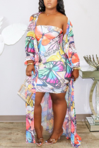 White Casual Print Split Joint Strapless Long Sleeve Two Pieces