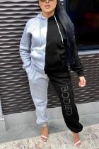 Grey Sportswear Print Split Joint Hooded Collar Long Sleeve Two Pieces
