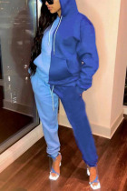 Blue Sexy Solid Split Joint Hooded Collar Long Sleeve Two Pieces