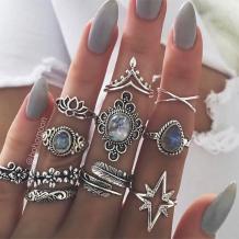 Silver Fashion Casual Retro Diamond Ring Eleven Set