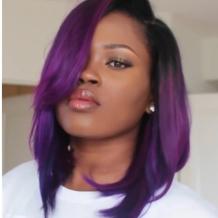 Purple Fashion Casual Microroll Mid-length Wigs