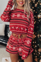 Red Fashion Casual Print Basic O Neck Long Sleeve Two Pieces