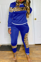 Colorful Blue Sexy Solid Split Joint O Neck Long Sleeve Two Pieces
