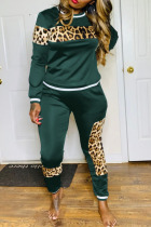 Army Green Sexy Solid Split Joint O Neck Long Sleeve Two Pieces