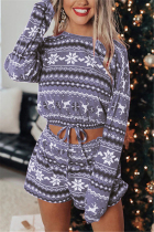 Grey Fashion Casual Print Basic O Neck Long Sleeve Two Pieces