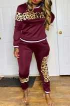 Wine Red Sexy Solid Split Joint O Neck Long Sleeve Two Pieces