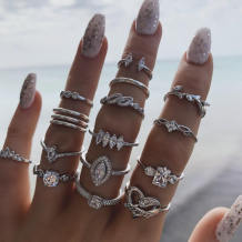 Silver Fashion Fifteen Sets Of Rings