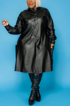 Black British Style Solid Split Joint O Neck A Line Dresses