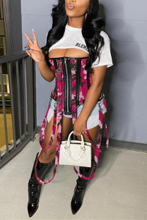 Pink Fashion Patchwork Camouflage Print Zipper Design Bustiers
