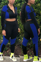 Blue Sexy Sportswear Solid Split Joint O Neck Long Sleeve Two Pieces