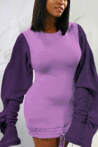 Purple Sexy Solid Split Joint O Neck Pencil Skirt Dresses