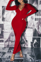 Red Sexy Solid O Neck Wrapped Skirt Dresses