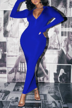 Blue Sexy Solid O Neck Wrapped Skirt Dresses