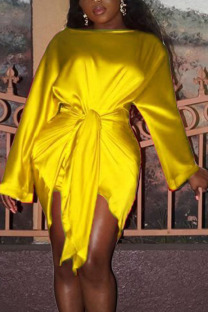 Yellow Fashion Sexy Party Satin Solid Basic Knotted O Neck Long Sleeve Knee Length Pencil Skirt Dresses