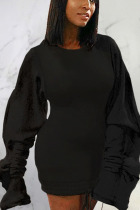Black Sexy Solid Split Joint O Neck Pencil Skirt Dresses