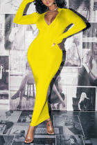 Yellow Sexy Solid O Neck Wrapped Skirt Dresses