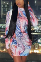 Multicolor Sexy Print O Neck Wrapped Skirt Dresses