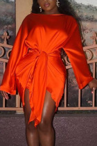 Orange Fashion Sexy Party Satin Solid Basic Knotted O Neck Long Sleeve Knee Length Pencil Skirt Dresses