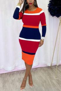 Red Fashion Casual Print Basic O Neck Long Sleeve Dress Dresses