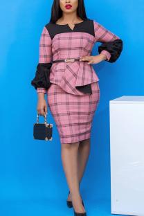 Pink Vintage Plaid Split Joint Square Collar Pencil Skirt Dresses