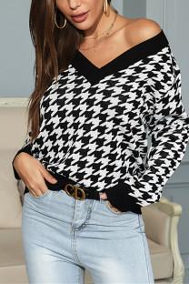 Black Fashion Casual Patchwork Basic V Neck Tops
