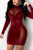 Red Celebrities Solid Hollowed Out Split Joint O Neck Pencil Skirt Dresses