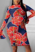 Orange Fashion Sexy Print Basic O Neck Long Sleeve Dress