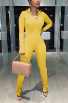 Yellow Fashion Casual Solid Basic V Neck Skinny Jumpsuits