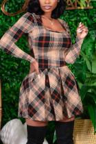 Beige Fashion Casual Print Basic Square Collar Long Sleeve Dress