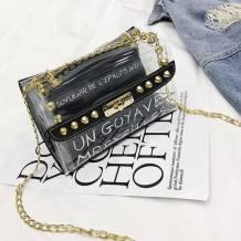Black Fashion Casual Letter See-through Crossbody Bag