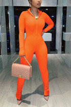 Orange Fashion Casual Solid Basic V Neck Skinny Jumpsuits