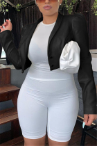 Black Fashion Casual Solid Cardigan Turn-back Collar Outerwear