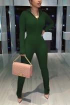 Black Green Fashion Casual Solid Basic V Neck Skinny Jumpsuits