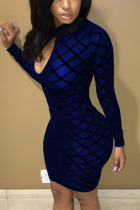 Royal Blue Sexy Split Joint O Neck Wrapped Skirt Dresses