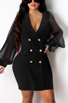Black Fashion Casual Solid Split Joint Turndown Collar Long Sleeve Dress