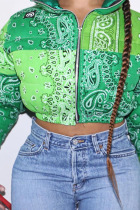 Green Casual Print Without Belt O Neck Outerwear