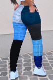 Yellow Fashion Casual Patchwork Mid Waist Trousers