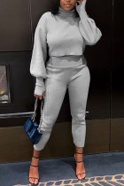 Grey Daily Solid Split Joint Turtleneck Long Sleeve Two Pieces