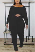Black Casual Solid Draw String Fold O Neck Long Sleeve Two Pieces