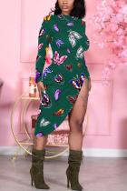 Green Sexy Print Butterfly Print Split Joint O Neck Pencil Skirt Dresses