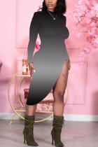 Black Sexy Print Split Joint O Neck Irregular Dress Dresses