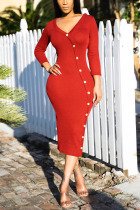 Red Sexy Solid Split Joint Buttons V Neck Pencil Skirt Dresses