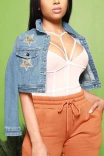 Light Blue Street Print Sequins Turndown Collar Outerwear